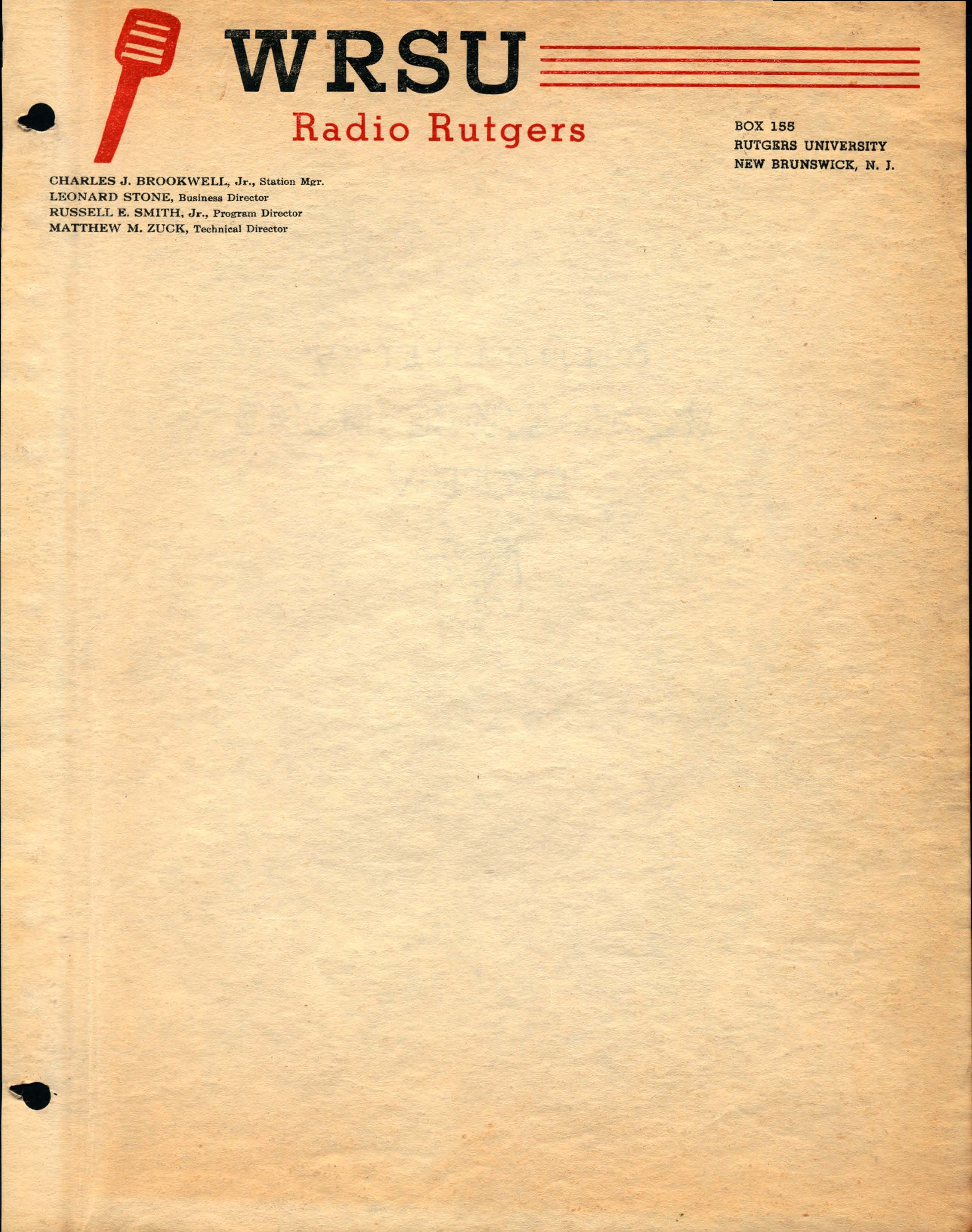 1948-WRSU Play Script - Cover Page