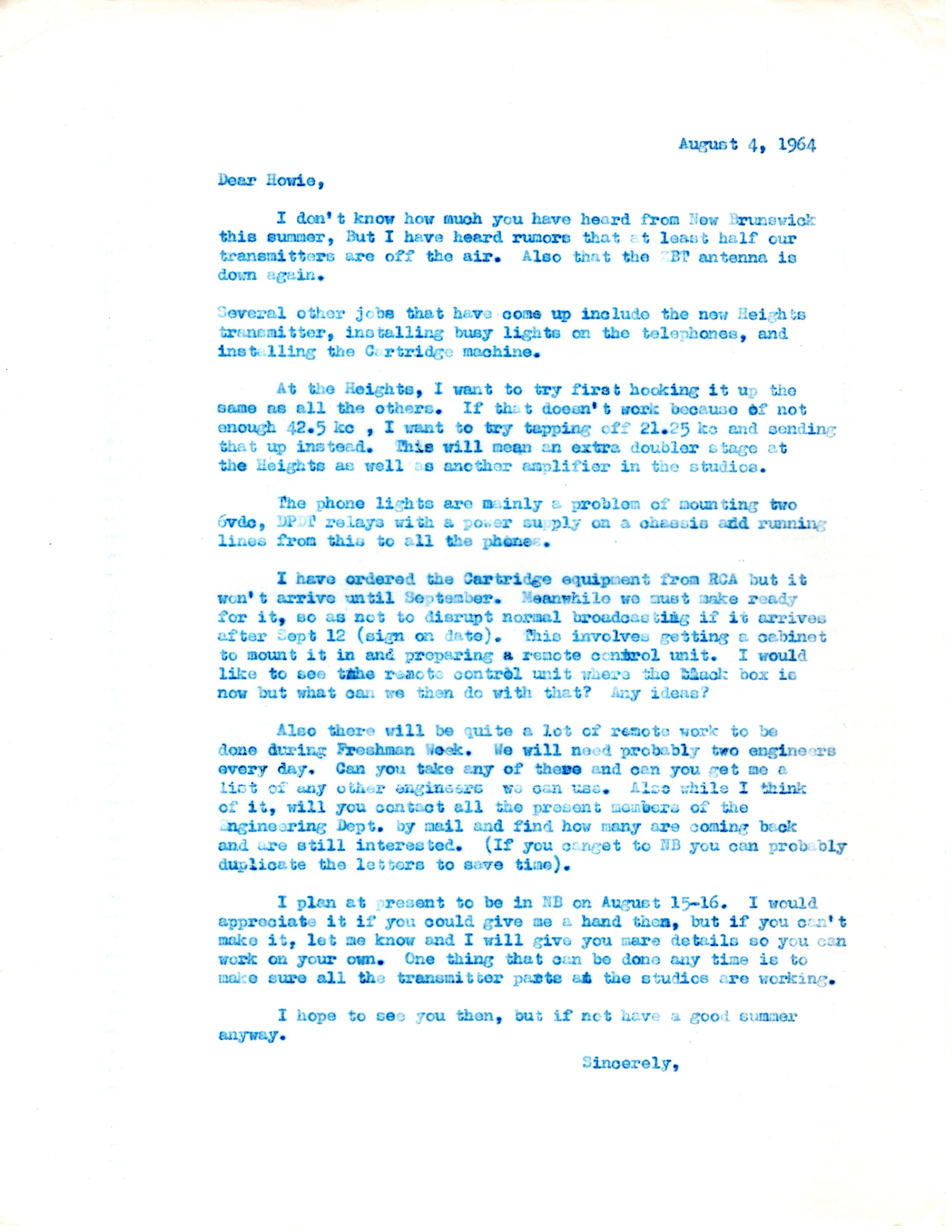 1964 - Notes on keeping the equipment running.
