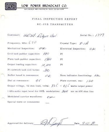 1970 - Paper work for one of the LPB AM transmitters.