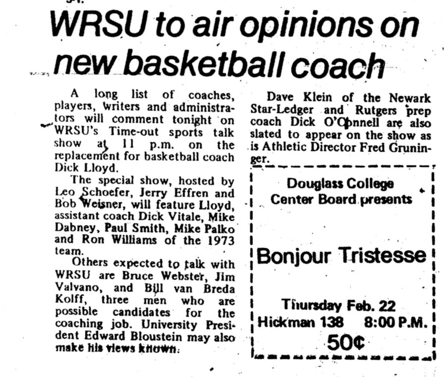 1973 - Always covering Rutgers Sports