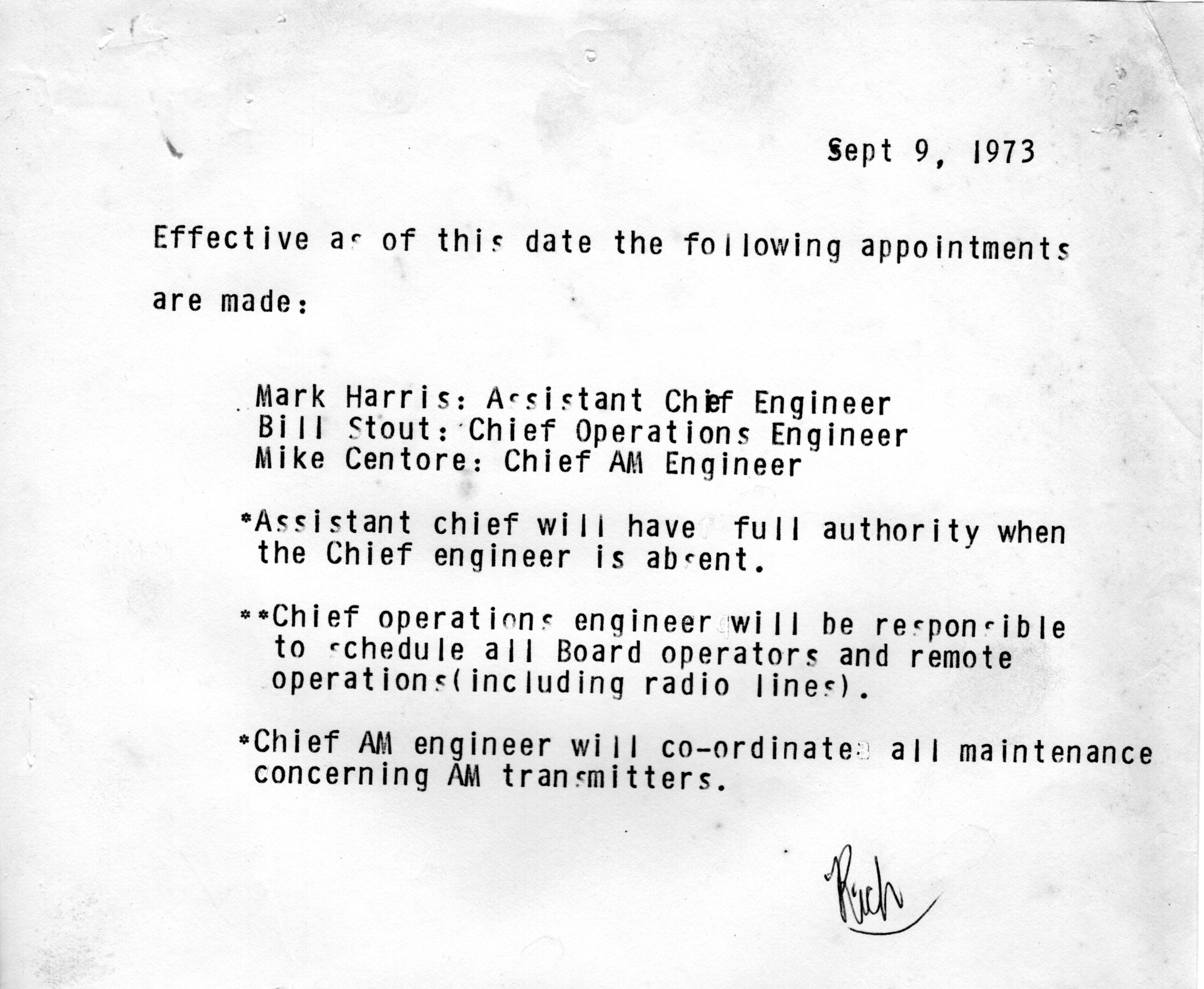 1973 - Official Announcements for the Engineering Department