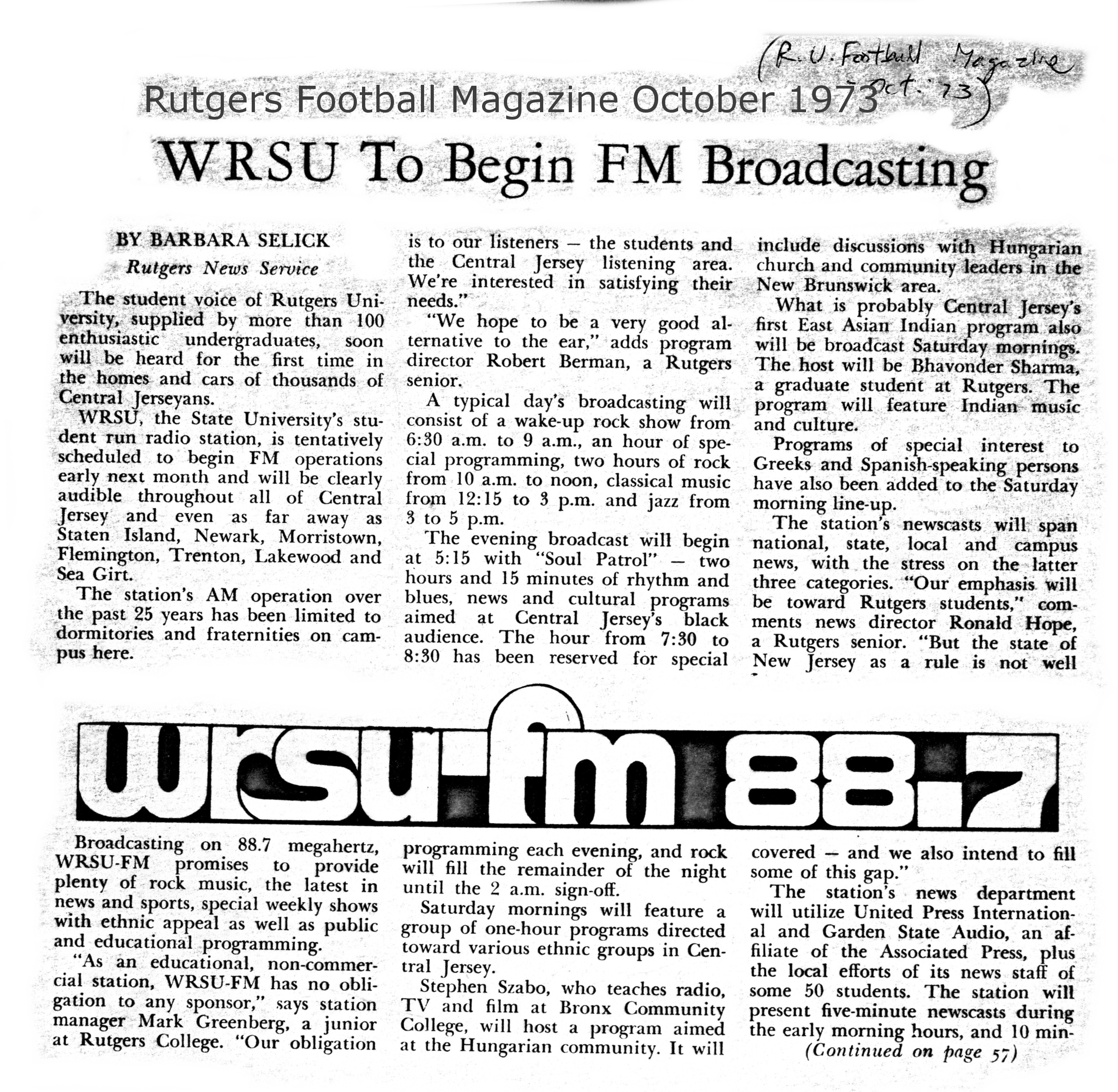 1973 - FM is coming along - Rutgers Football Magazine