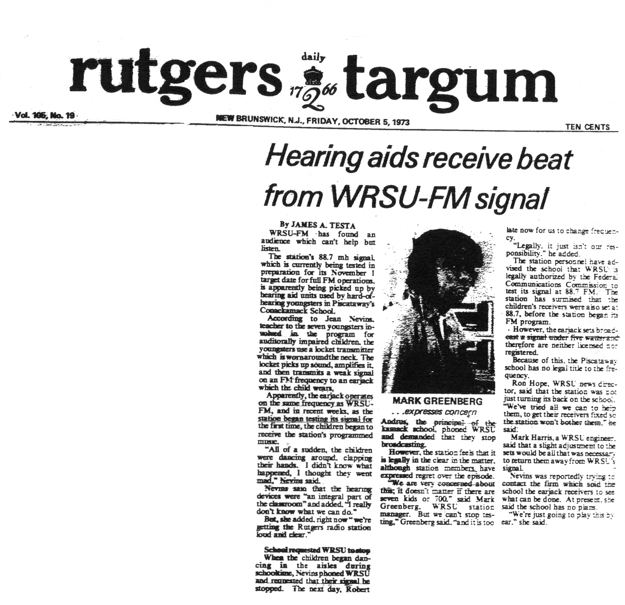 1973 - One of the many stories getting FM running - Interference was a major problem back then