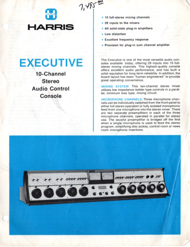 1980 - WRSU got a 'deal' from Harris so WRSU bought a third Executive Console