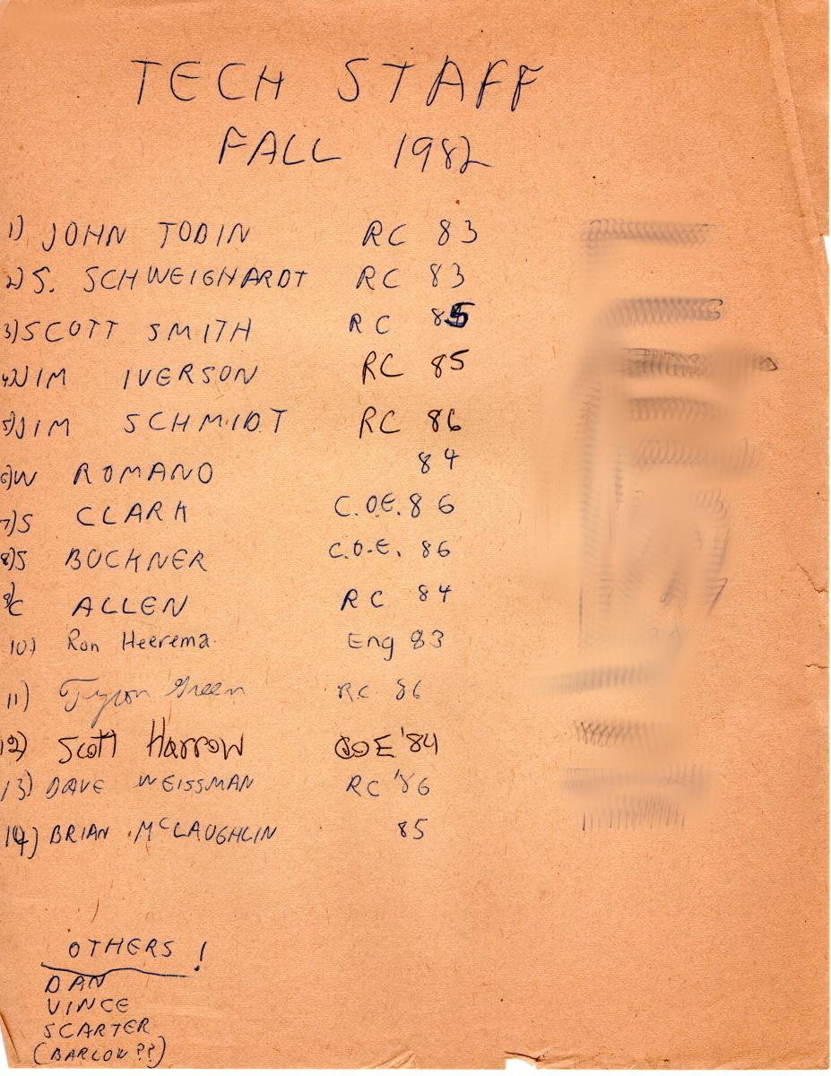 1982 - Another list of the tech staff. Found in the dark reaches of tech.