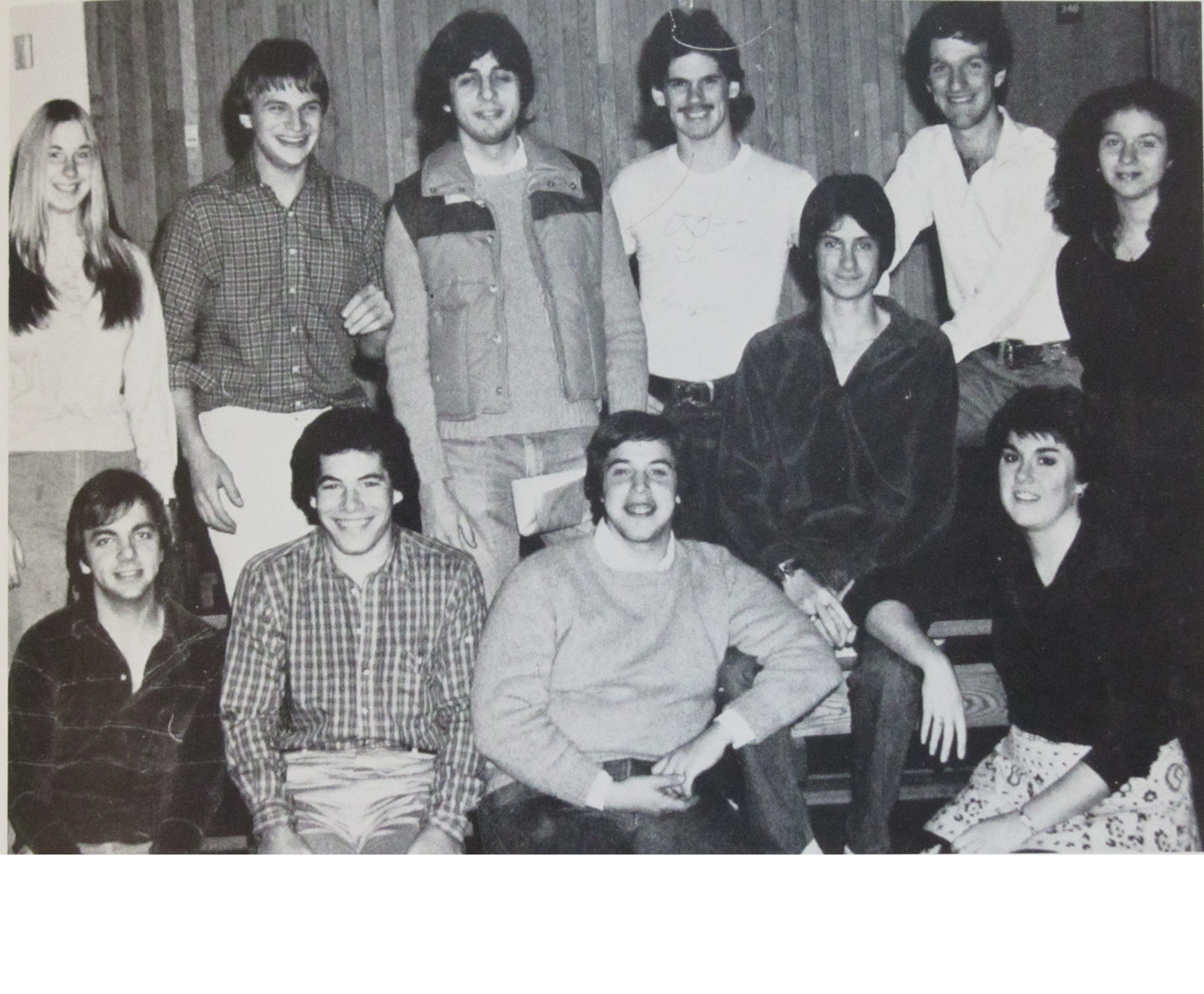 1982 - Left to Right:Sherry Schweighardt, Steve Maffie, Unknown, Tim Jackson, Unknown, Jim Berman, Judiaka Illis Steve Carter, Unknown, Jon Newman, Rose Mahoney