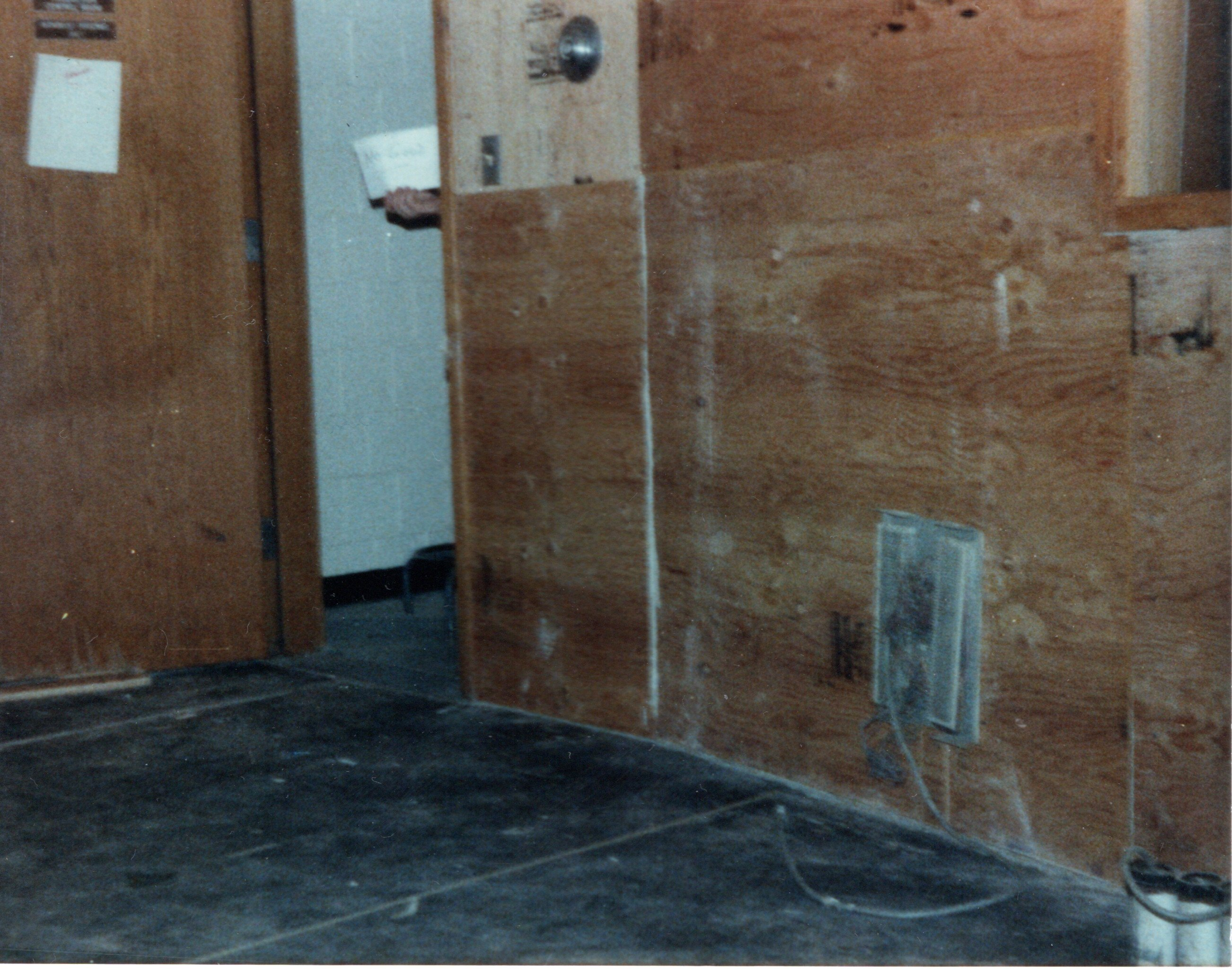 1985-Production Rebuild - Plywood on the wall to mount items