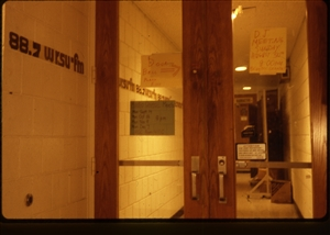 1987 WRSU Orientation Slide Show<br/>WRSU Front Door and Hand Written Signs<br>Slide #2-1