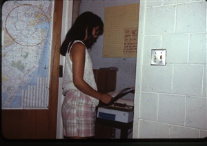 1987 WRSU Orientation Slide Show<br/>Ellie Yung and the AP Dot Martix Printer<br>Slide #1_1