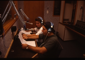 1987 WRSU Orientation Slide Show<br/>Broadcasting the News from Studio B<br>Shannon Sohn, Inknown<br>Slide #10