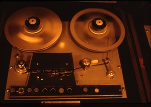 1987 WRSU Orientation Slide Show<br/>Spinning Scully Analog Tape<br>Slide #11