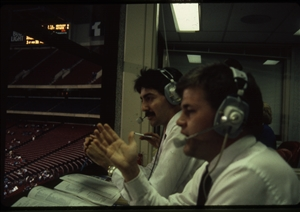 1987 WRSU Orientation Slide Show<br/>Broadcasting the game<br>Slide #13