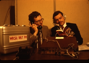 1987 WRSU Orientation Slide Show<br/>Fake Remote Broadcast in Studio A<br>Dan Schleck,Unknown<br>Slide #14