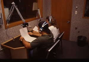 1987 WRSU Orientation Slide Show<br/>Studio B and the News<br>Slide #16
