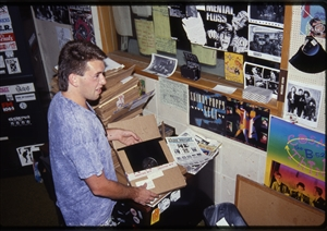 1987 WRSU Orientation Slide Show<br/>Opening New Music in Studio A<br>Slide #22