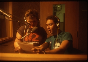 1987 WRSU Orientation Slide Show<br/>Production Team doing a skit<br>Slide #24