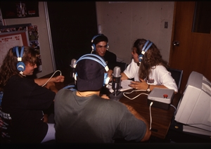 1987 WRSU Orientation Slide Show<br/>Production Team in Studio A<br>Slide #25