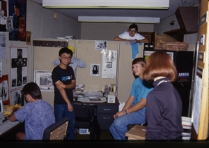 1987 WRSU Orientation Slide Show<br/>Hanging out in Studio A<br>Unknown, Denis Sun,Unknown, Greg Nelson, Unknown<br>Slide #30