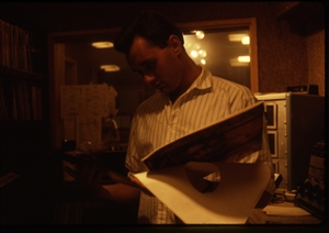 1987 WRSU Orientation Slide Show<br/>Picking the next cut<br>Slide #34_2