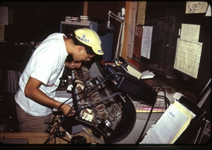 1987 WRSU Orientation Slide Show<br/>Calibrating the FM Console<br>Ed Wong<br>Slide #36