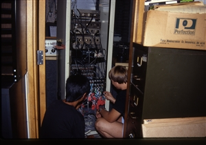 1987 WRSU Orientation Slide Show<br/>News Production Patch Rack<br>This was right after the News Pro Rebuild - Denis Sun, Greg Nelson<br>Slide #40