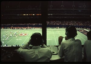 1987 WRSU Orientation Slide Show<br/>Broadcasting the game from Rutgers Stadium<br>Slide #42