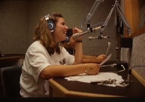 1987 WRSU Orientation Slide Show<br/>News from Studio B<br>Shannon Sohn, Unknown<br>Slide #45