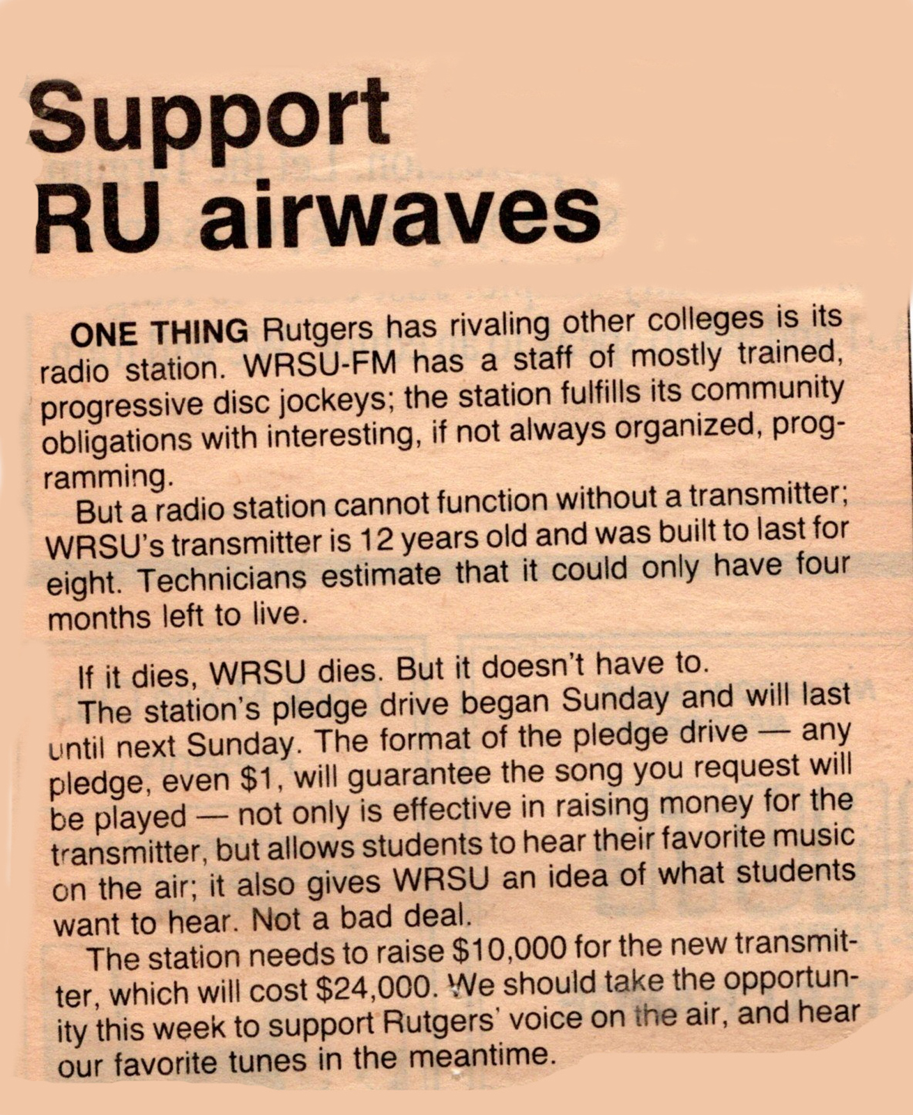 1987 - Looking for Transmitter Money