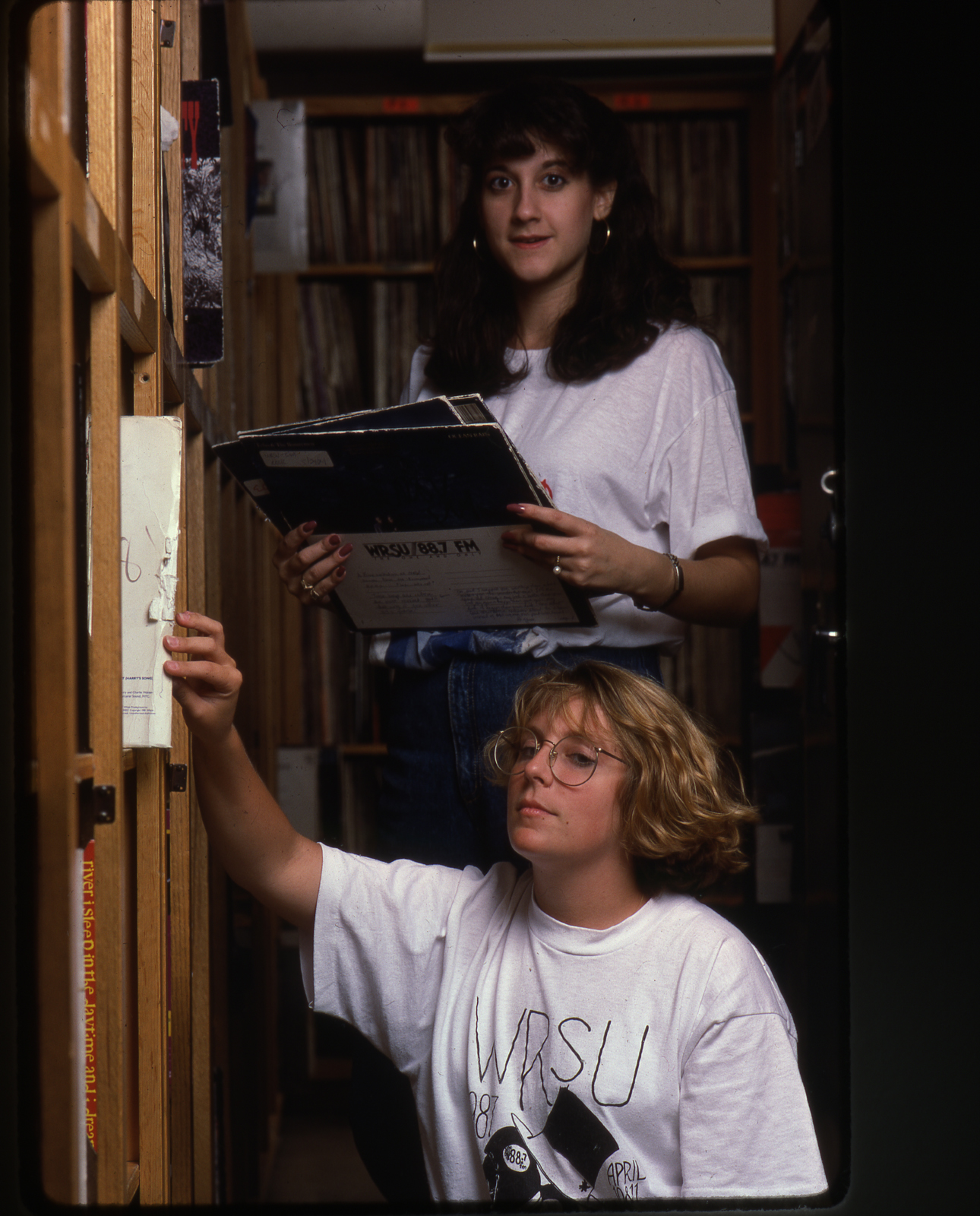 1987 Top: Debbie Agihs - Bottom: Denise Davidson in the Record Library